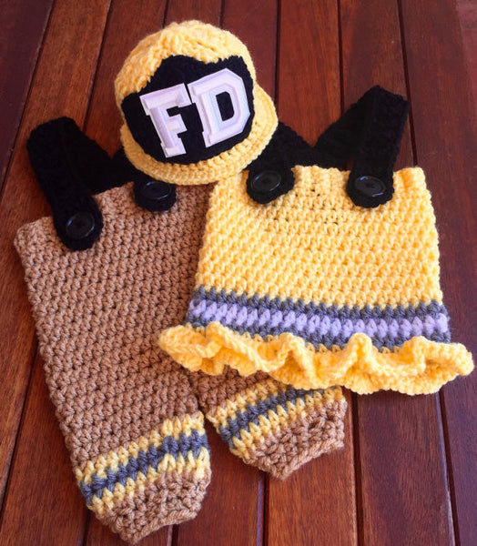 newborn firemen helmet pants skirt crochet pattern