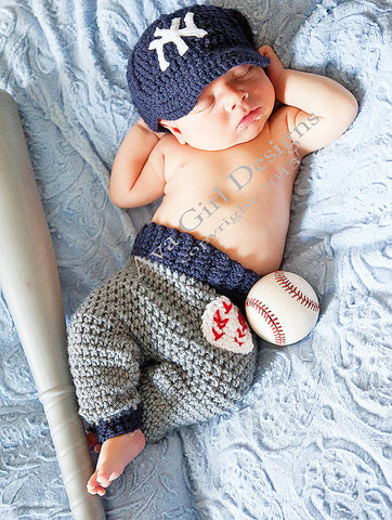 Baby Baseball Cap Pants Crochet Pattern , baby baseball hat pants crochet pattern