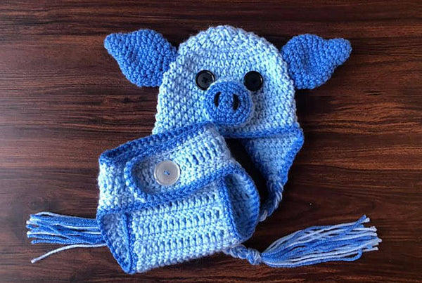 Beau The Piggy Hat Diaper Cover Crochet Pattern
