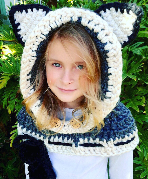 hooded cowl scarf - Camille the Cat