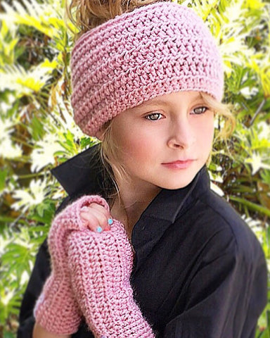 girls head warmer fingerless gloves crochet pattern