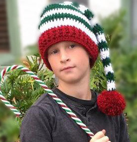 Striped elf hat crochet pattern