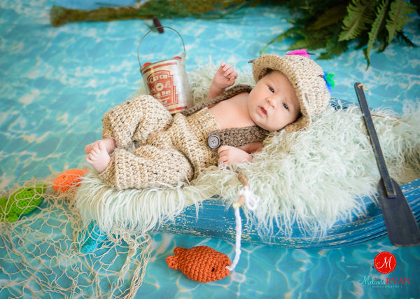 newborn fishermen bucket hat pants crochet pattern