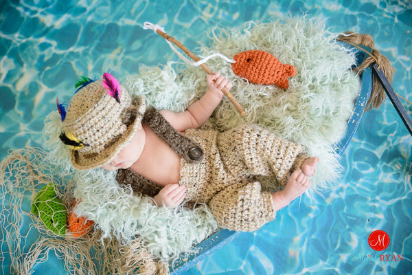 baby fishing hat pants crochet pattern