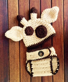 Baby giraffe hat diaper cover crochet pattern