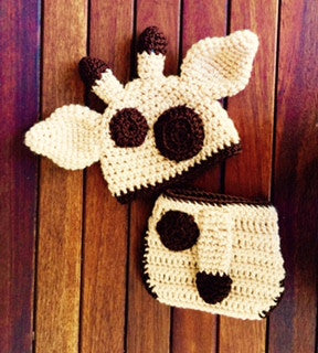 Crochet pattern baby giraffe hat diaper cover