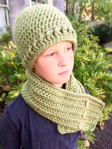 men's scarf hat crochet pattern