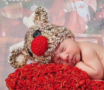 Newborn baby reindeer Christmas hat, Rudolph the Red Nosed Reindeer Baby Hat Crochet Pattern
