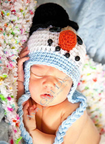 Crochet Pattern Winter Hat Snowman Hat