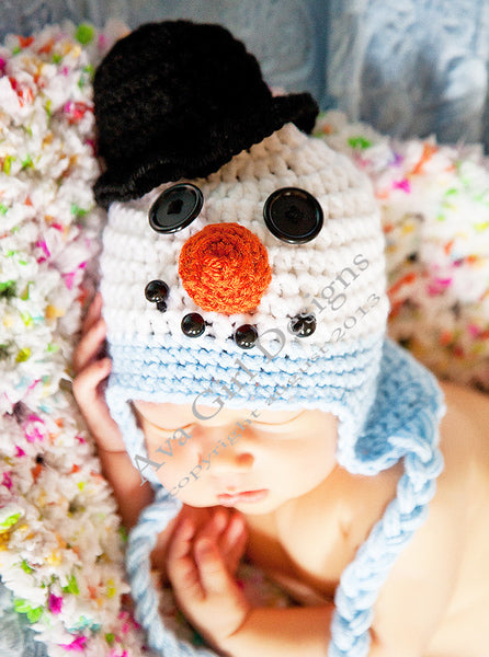 Snowman Earflap Hat Christmas Baby Hat