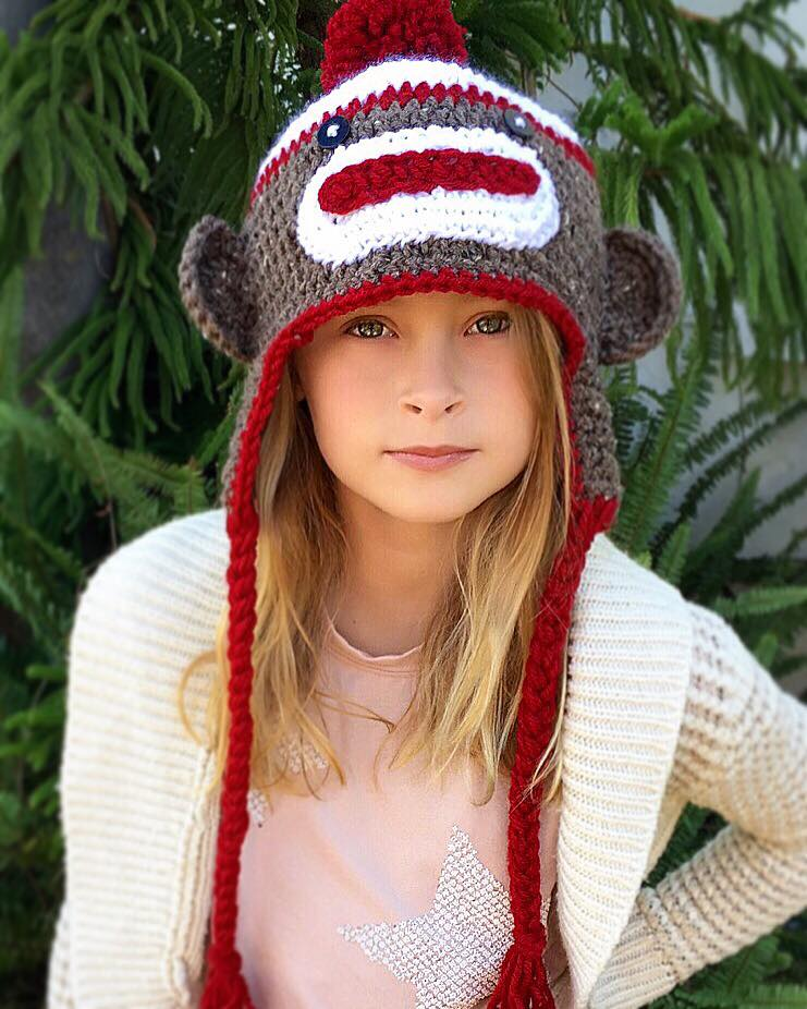 Sock Monkey Hat Crochet Pattern Cecil Ava Girl Designs