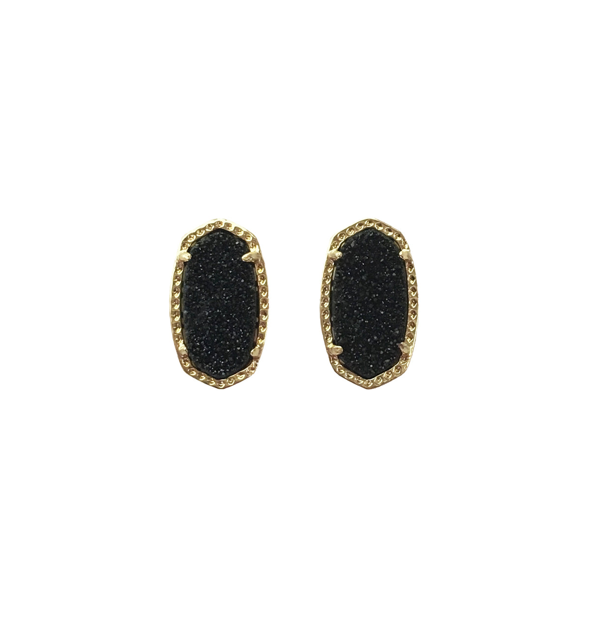 Black Druzy Hexagon Earrings