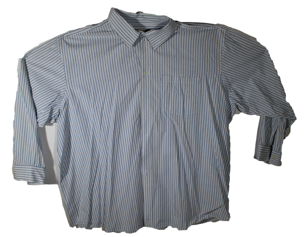 626 Blue Long Sleeve Shirt Blue and White Striped Size 4XL