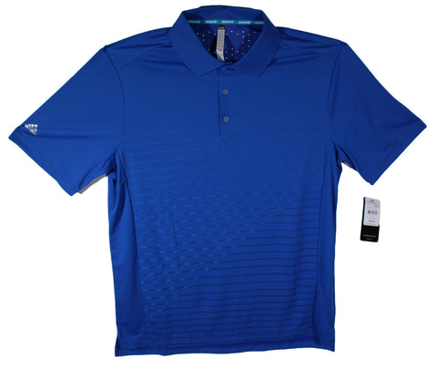 NEW Adidas Blue Striped Performance Polo Size 1XLT