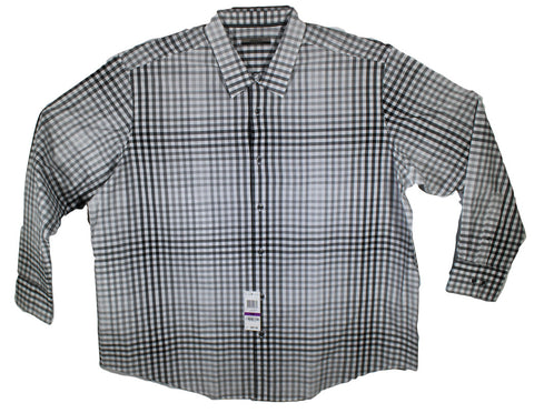NEW Alfani Black & White Checkered Long Sleeve Shirt Size 2XL, 3XL & 4XL