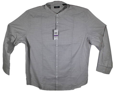 NEW Alfani Grey No Collar Long Sleeve Shirt Size 2XL