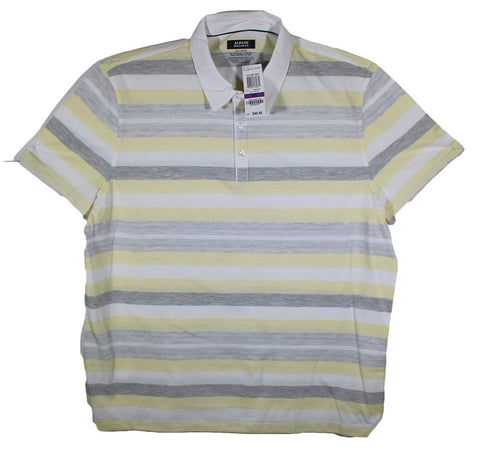 NEW Alfani Grey, Yellow & White Striped Polo Shirt Size 2XL