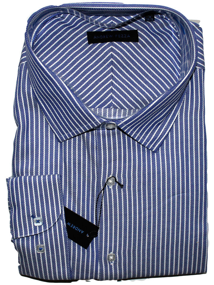 NEW Andrew Fezza Blue Striped Dress Shirt Sizes 18.5, 19, 20, 22