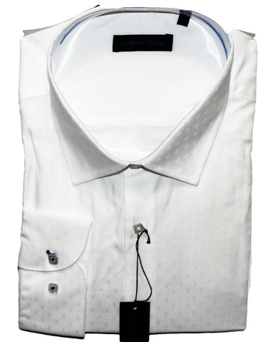 NEW Andrew Fezza White with Boxes Dress Shirt Sizes 18.5, 19, 20, 22