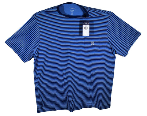 NEW Chaps Blue Striped Lightweight T-Shirt Size 2XL