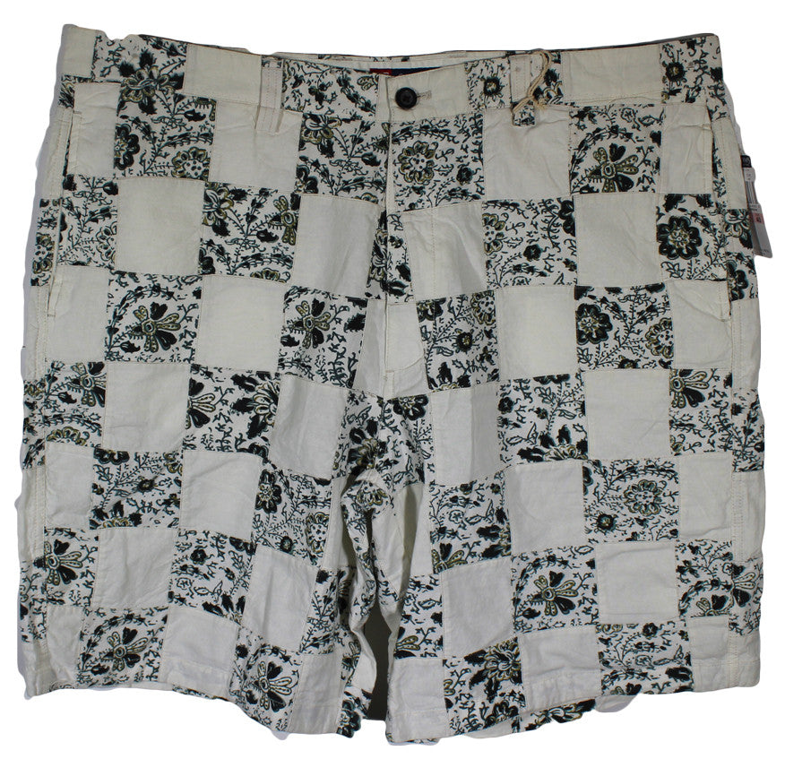 NEW Chaps White Windowpane Floral Casual Shorts Size 40