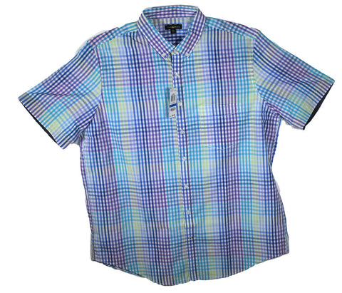 NEW Club Room Checkered Short Sleeve Shirt Sizes XLT, 2XL, 2XLT, 3XL, 4XL - 4 Colors