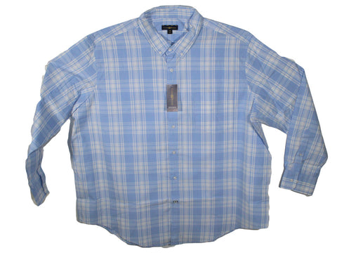 NEW Club Room Pale Ink Blue Plaid Long Sleeve Shirt Sizes 2XL, 2XLT, 3XL, 3XLT, 4XL & 4XLT