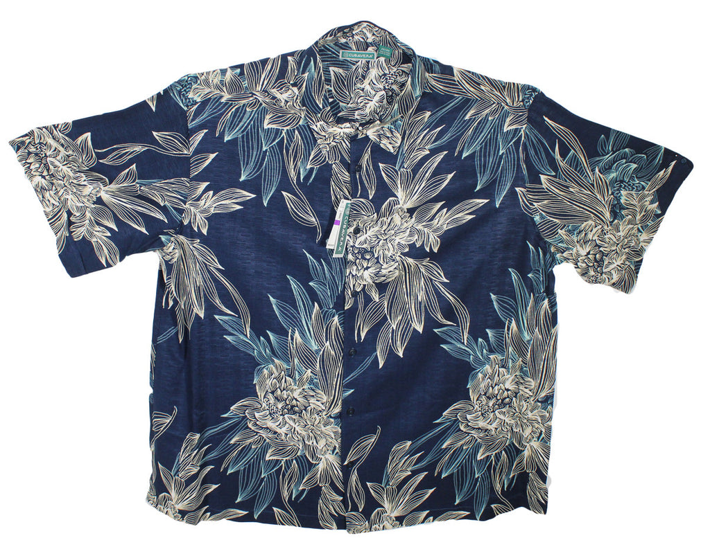NEW Cubavera Navy Blue Floral Hawaiian Shirt Sizes 2XL