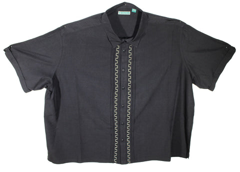 NEW Cubavera Black Square Vertical Embroidered Shirt Size 5XL