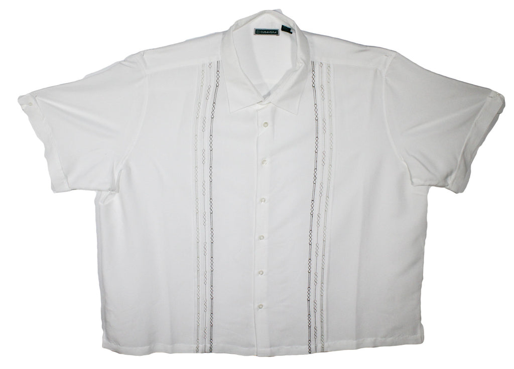 NEW Cubavera White Embroidered Stripes Short Sleeve Shirt Sizes 4XL & 5XL