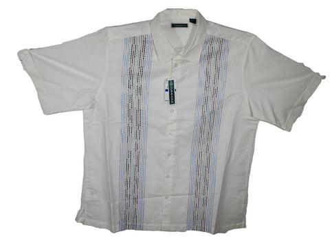 NEW Cubavera Bright White with Blue & Black Stitching Shirt Sizes XLT, 4XLT & 5XL