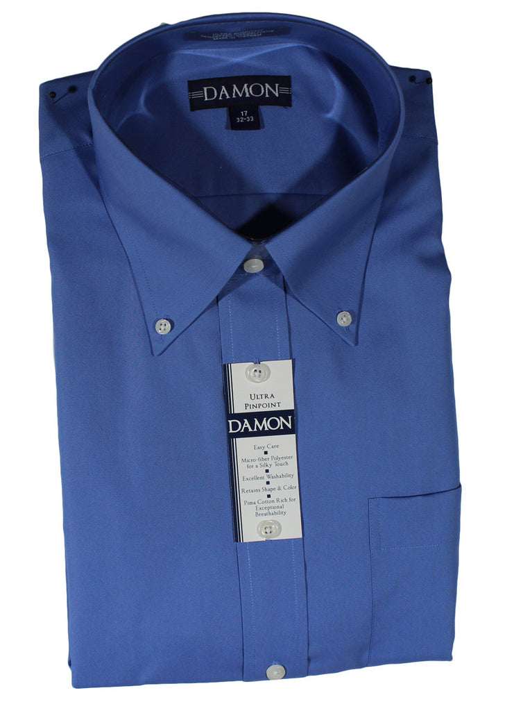 NEW Damon French Blue Ultra Poplin Short Sleeve Shirt Size 16.5