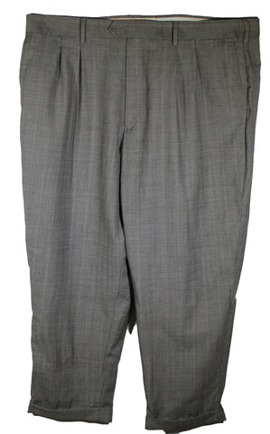 Geoffrey Beene Charcoal with Plaid Dress Pants Size 46 Inseam 30