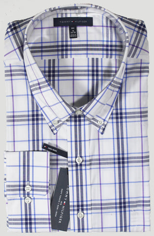 NEW Tommy Hilfiger Striped Navy Plaid Dress Shirt Sizes 22