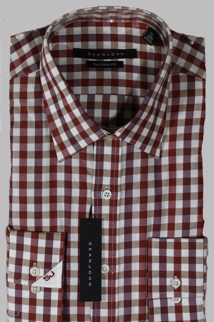 NEW Sean John Maroon Plaid Dress Shirt Sizes 17, 17.5, 18, 19 & 22