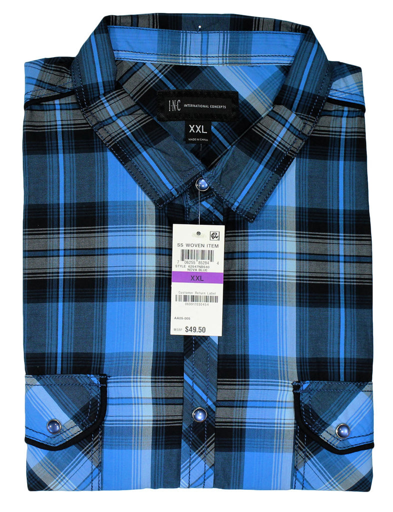NEW Inc International Concepts Blue Western Style Plaid Long Sleeve Shirt Size 2XL