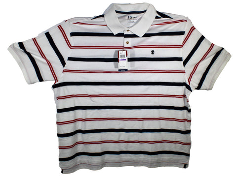 NEW Izod Red, White & Blue Striped Polo Shirt Size 2XL
