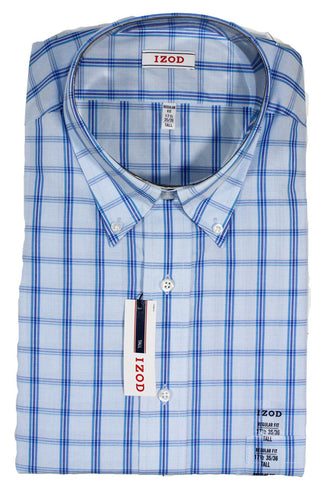 NEW Izod Blue Plaid Dress Shirt Size 17.5 35/36