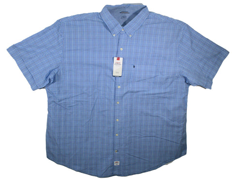 NEW Izod Blue Revival Micro Check Plaid Short Sleeve Shirt Size 3XL & 4XL