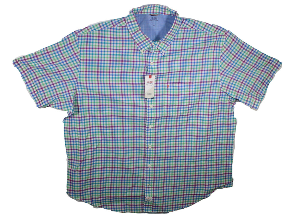 NEW Izod Saltwater Multi Color Plaid Short Sleeve Shirt Size 3XL & 4XL - 2 Colors