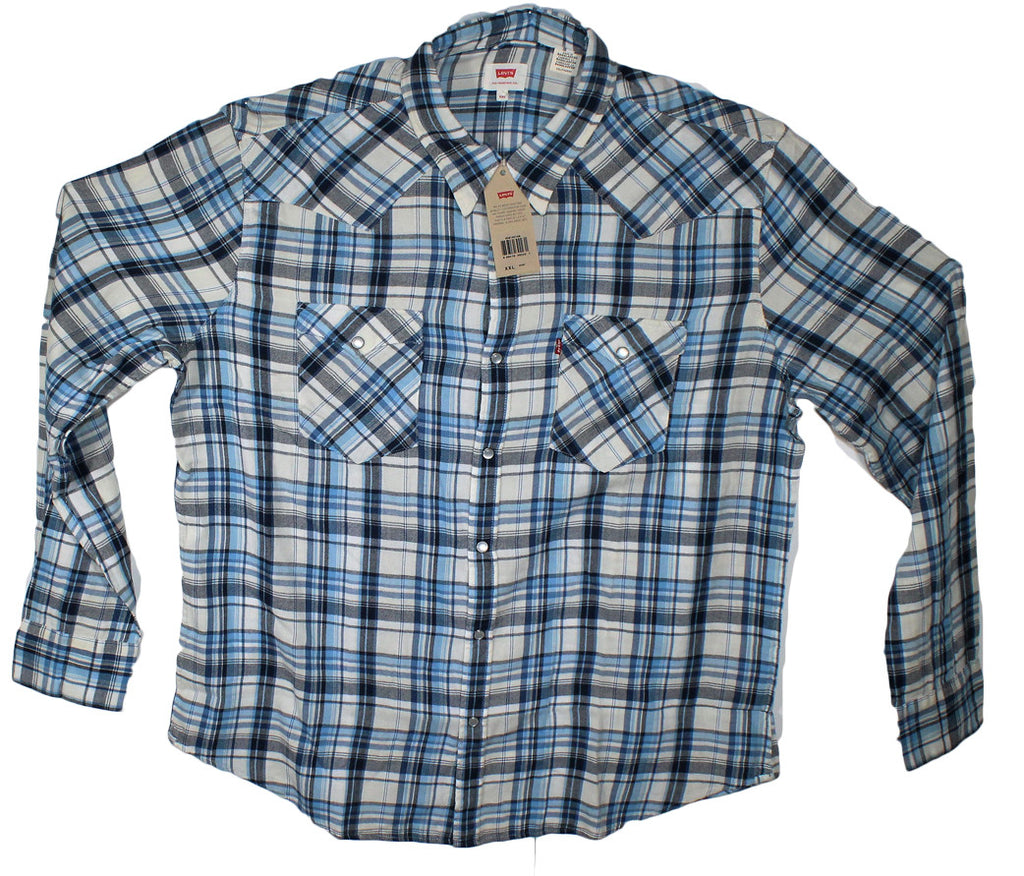NEW Levi's Blue Western Style Plaid Long Sleeve Shirt Size 2XL