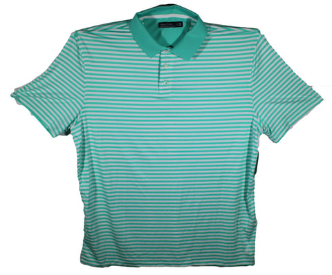 NEW Nautica Aqua Blue & White Striped Polo - Nylon Material - Size 2XL