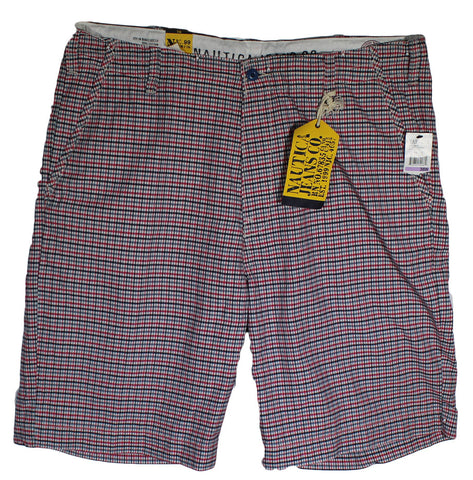 NEW Nautica Red, White & Blue Plaid Casual Shorts Size 38