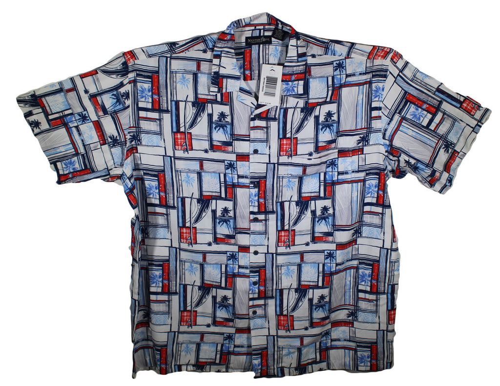 NEW Newport Blue Red, White & Blue Hawaiian Shirt Sizes 3XLT & 4XLT