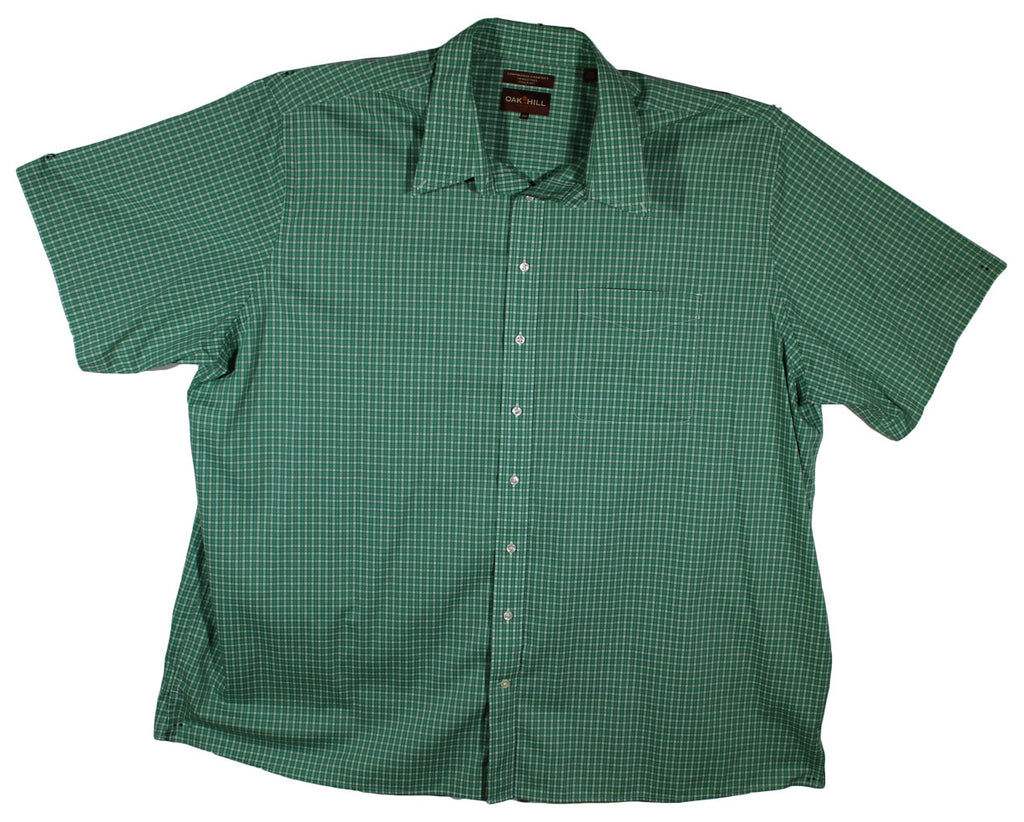 Oak Hill 4XLT Green Plaid Short Sleeve Shirt