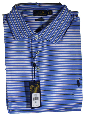 NEW Polo by Ralph Lauren Island Blue Striped Polo - Pima Soft Touch Sizes 2XL, 2XLT, 3XL, 4XL, 4XLT & 5XL