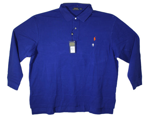 NEW Polo by Ralph Lauren Blue Long Sleeve Polo Shirt Sizes 2XL & 3XL
