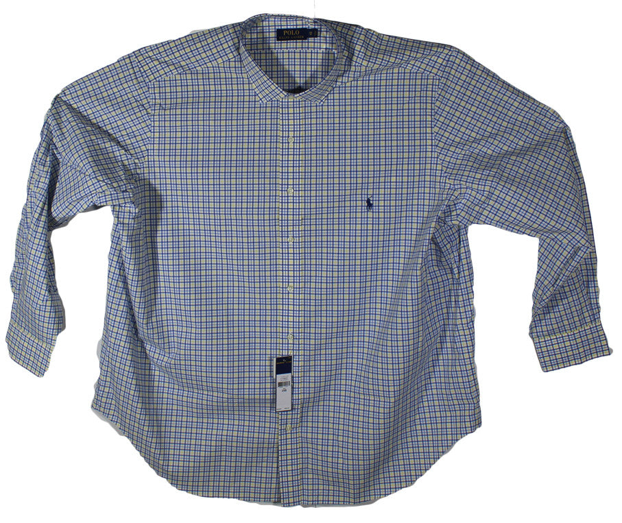 NEW Polo by Ralph Lauren Yellow & Blue Plaid Long Sleeve Shirt Sizes 2XL, 2XLT, 3XL & 3XLT