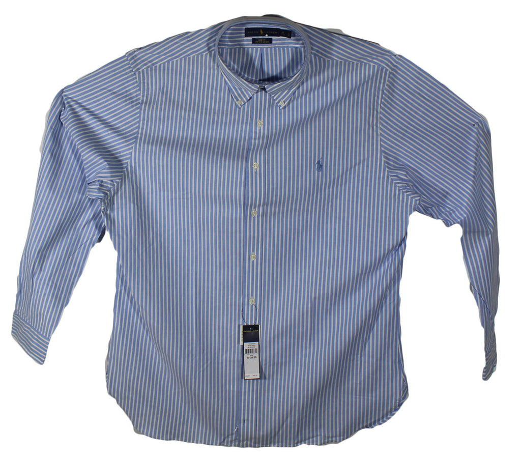 NEW Ralph Lauren Blue Striped Long Sleeve Shirt - Slim Fit Size 17 34/35