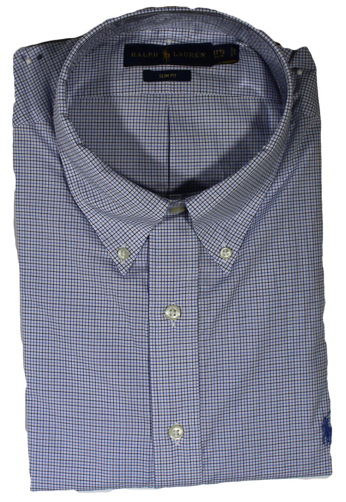 NEW Ralph Lauren Blue Checkered Plaid Long Sleeve Shirt Size 2XL